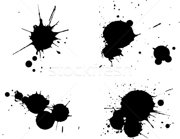 4 Black Splats Stock photo © PokerMan