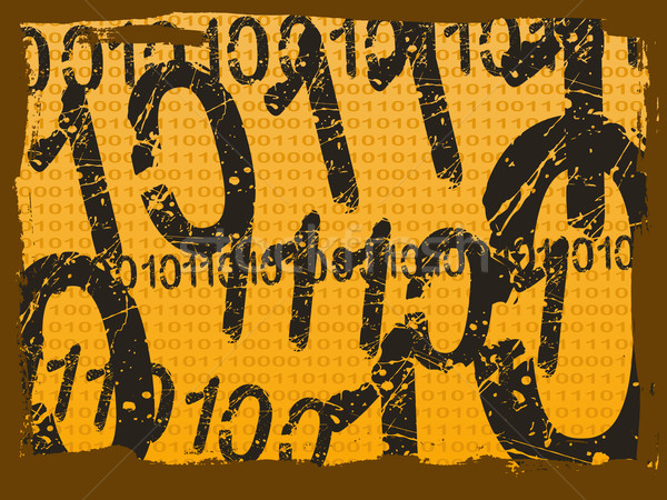 Binary Grunge Background - Orange Stock photo © PokerMan