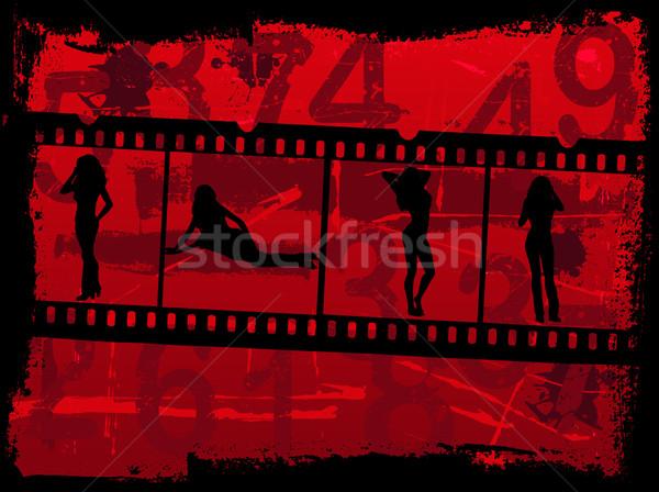 Stock foto: Mädchen · Film · Grunge · Filmstreifen · Computer · Mädchen