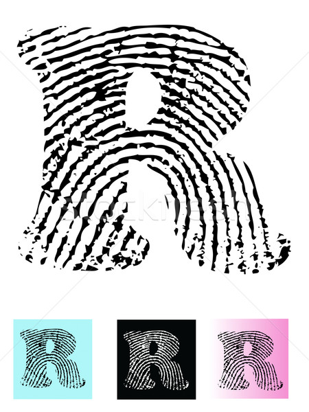 Fingerprint Alphabet Letter R Stock photo © PokerMan