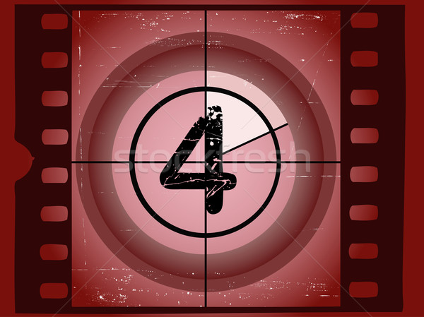 Old Red Scratched Film Countdown - At 4 Stock photo © PokerMan