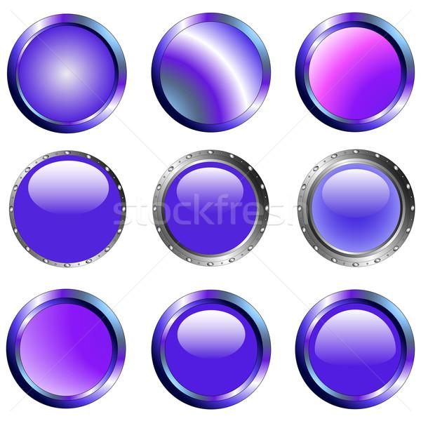 Purple веб Кнопки легкий интернет металл Сток-фото © PokerMan