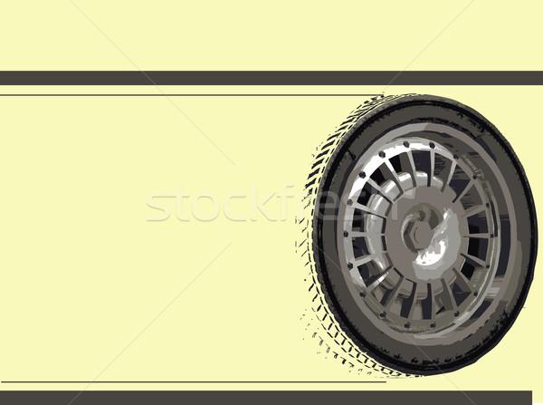 Voiture de course course voiture roues jaune espace de copie Photo stock © PokerMan