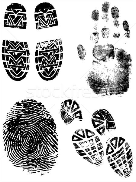 ShoePrints Handprints and Fingerprints Stock photo © PokerMan