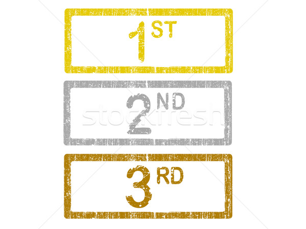 3 Grunge Office Stamps - 1st 2nd and 3rd Stock photo © PokerMan