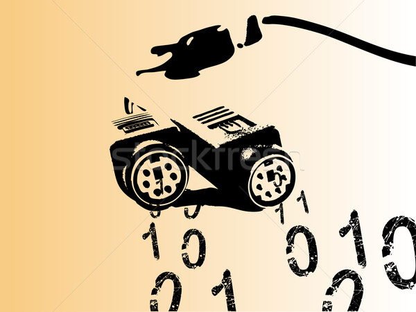 コンピュータ ケーブル バイナリ 番号 コンピュータケーブル 外に ストックフォト © PokerMan