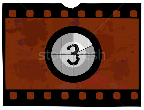 Old Fashioned film countdown at 3 Stock photo © PokerMan
