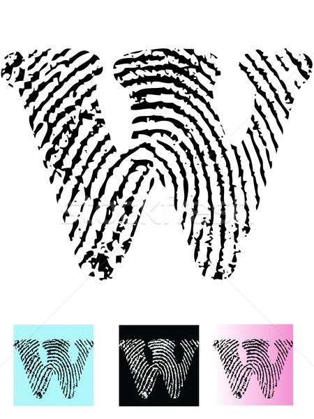 Fingerprint Alphabet Letter W Stock photo © PokerMan