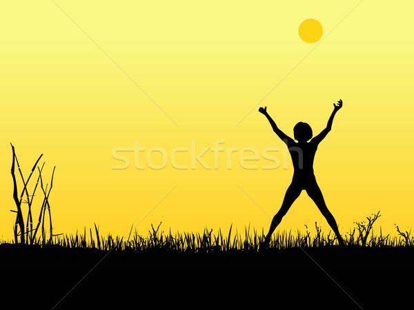 солнце силуэта девушки оружия вверх женщину Сток-фото © PokerMan