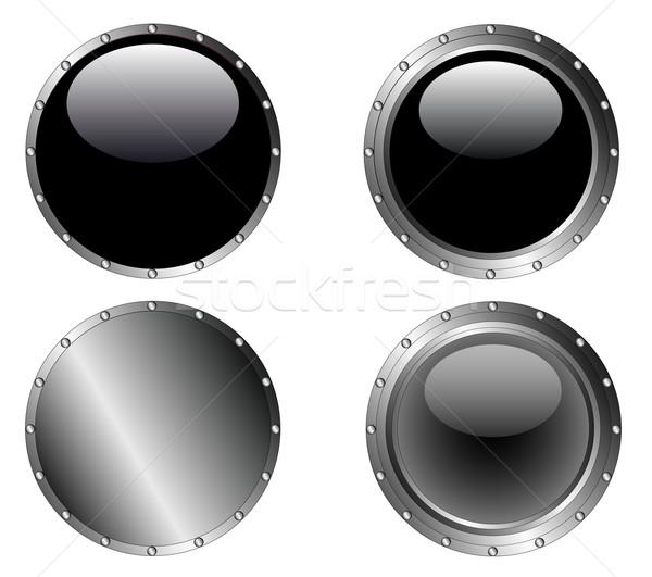 4 Studded Black Buttons Stock photo © PokerMan