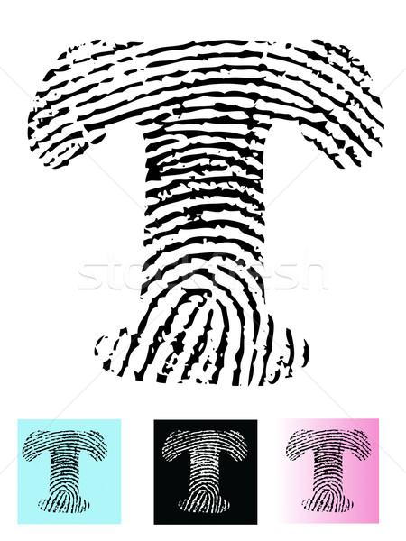 Fingerprint Alphabet Letter T Stock photo © PokerMan