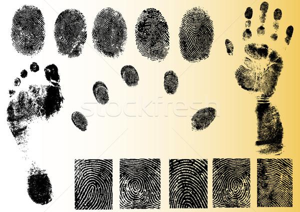 Vektor ujjlenyomat elemek feketefehér lábnyom vektorok Stock fotó © PokerMan