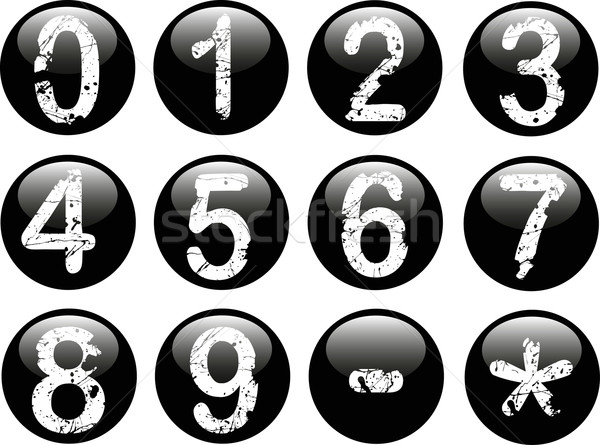 Black Web Buttons with Numbers 0-9 Stock photo © PokerMan