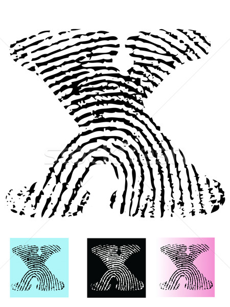 Fingerprint Alphabet Letter X Stock photo © PokerMan