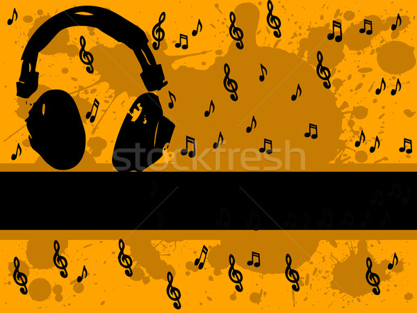 Müzik adam kulaklık müzik notaları vektör grafik Stok fotoğraf © PokerMan