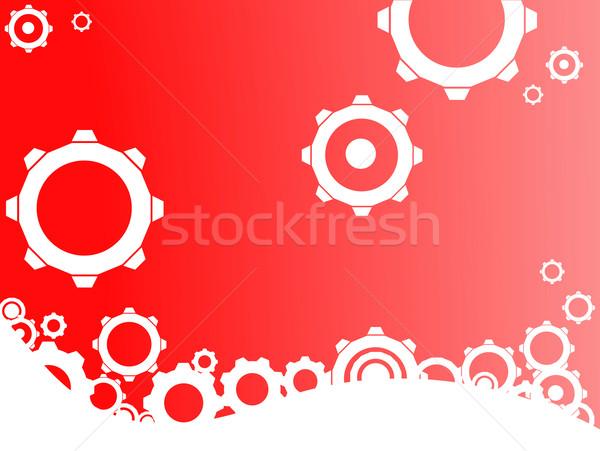 Piros ipari kerekek ipar fehér fogaskerekek Stock fotó © PokerMan