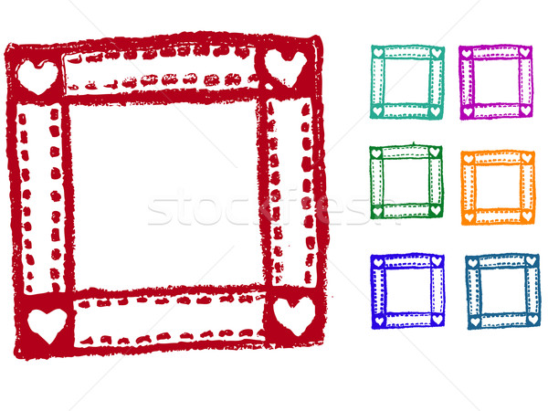 Photo stock: Grunge · coeur · frontière · timbres