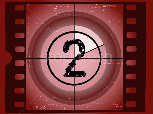 Old Red Scratched Film Countdown - At 2 Stock photo © PokerMan