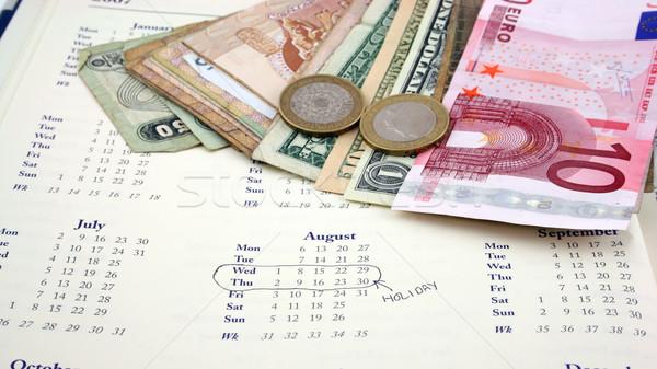 Foto stock: Férias · dinheiro · agosto · livro · calendário · férias