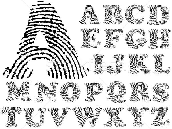 Huellas dactilares alfabeto detallado carta transparente Foto stock © PokerMan