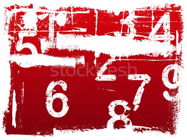 Гранж числа красный иллюстрация кислота номера Сток-фото © PokerMan