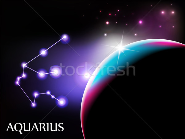 Stock photo: Aquarius Astrological Sign and copy space