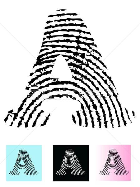 Huellas dactilares alfabeto carta detallado transparente Foto stock © PokerMan