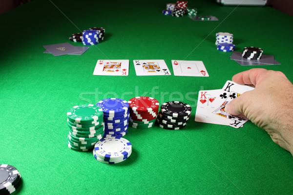 The winning hand - Showing quad kings Stock photo © PokerMan