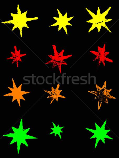 12 neon grunge stelle trasparente vettori Foto d'archivio © PokerMan