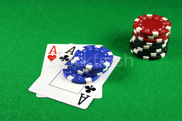 Poker - A Pair of Aces with Poker Chips 3 Stock photo © PokerMan