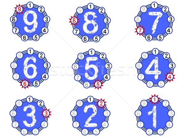Tabla cuenta atrás azul números fuera abajo Foto stock © PokerMan