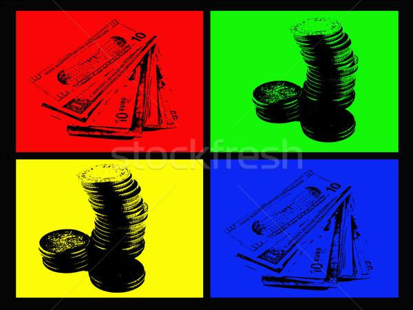 Couleur argent papier pièces quatre fond Photo stock © PokerMan