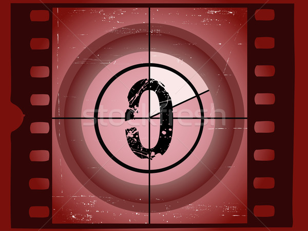 Old Red Scratched Film Countdown - At 0 Stock photo © PokerMan