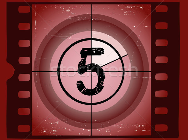 Old Red Scratched Film Countdown - At 5 Stock photo © PokerMan