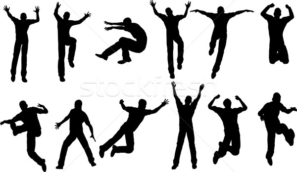 12 masculino saltando homem esportes homens Foto stock © PokerMan