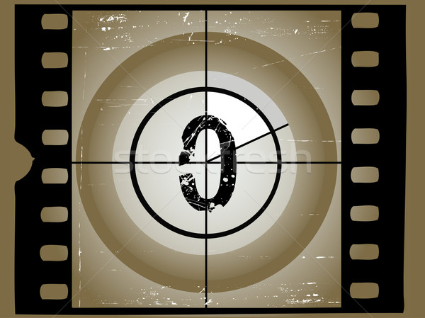Old Sctratched Film Countdown - At 0 Stock photo © PokerMan