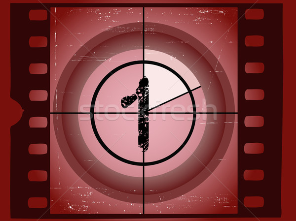 Old Red Scratched Film Countdown - At 1 Stock photo © PokerMan
