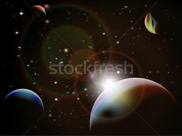 Eclipse fantasia espaço cena detalhado Foto stock © PokerMan