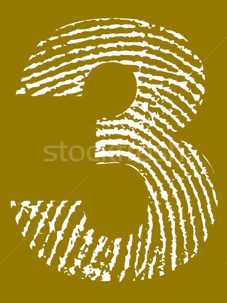Fingerprint Alphabet - Number 3 Stock photo © PokerMan