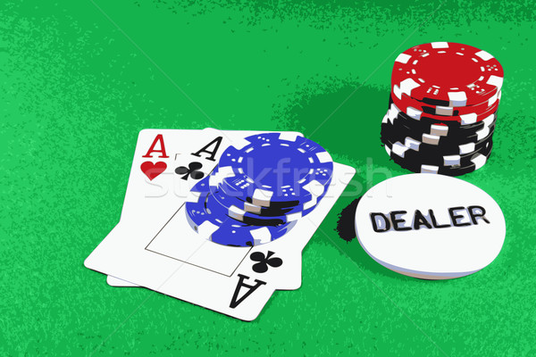 Poker - A Pair of Aces with Poker Chips 5 Stock photo © PokerMan