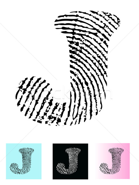 Fingerprint Alphabet Letter J Stock photo © PokerMan