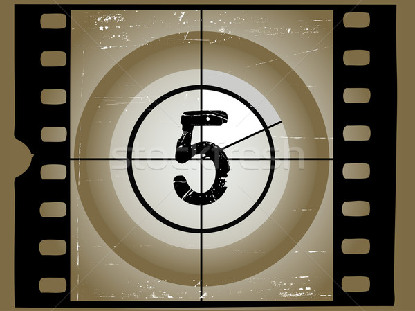 Old Sctratched Film Countdown - At 5 Stock photo © PokerMan