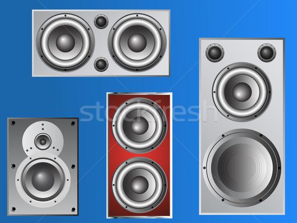 4 Loudspeakers 4 Stock photo © PokerMan