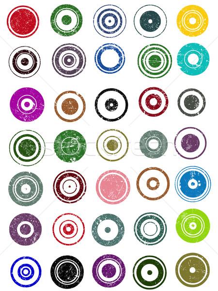 35 Grunge Circle Graphic Elements Stock photo © PokerMan