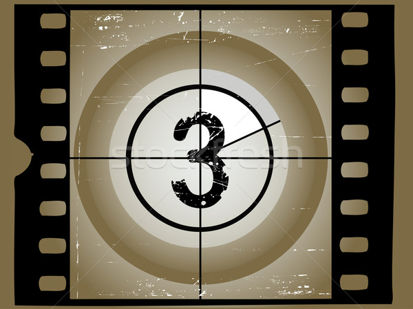 Old Sctratched Film Countdown - At 3 Stock photo © PokerMan