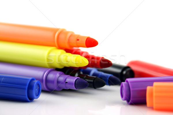 Felt Pens and lids close up Stock photo © PokerMan