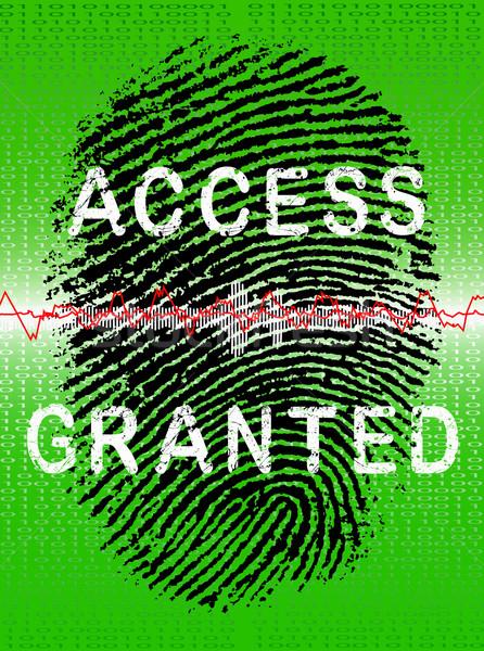 Vingerafdruk groene scanner vinger achtergrond tech Stockfoto © PokerMan