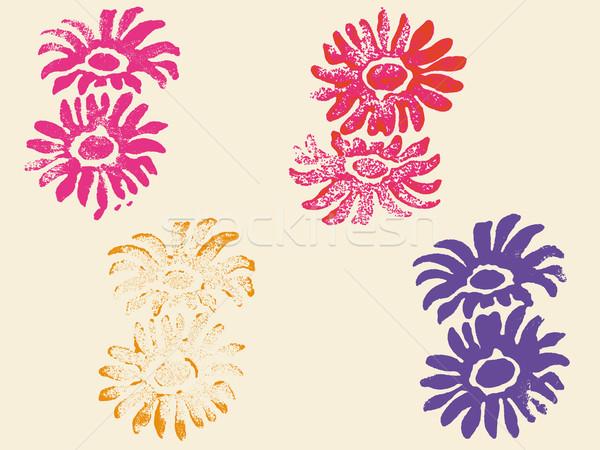 Grunge fleur timbres transparent vecteurs peuvent Photo stock © PokerMan