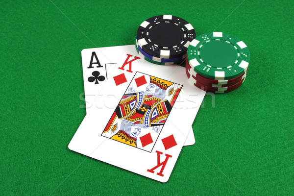 Grand ace roi vert poker Photo stock © PokerMan