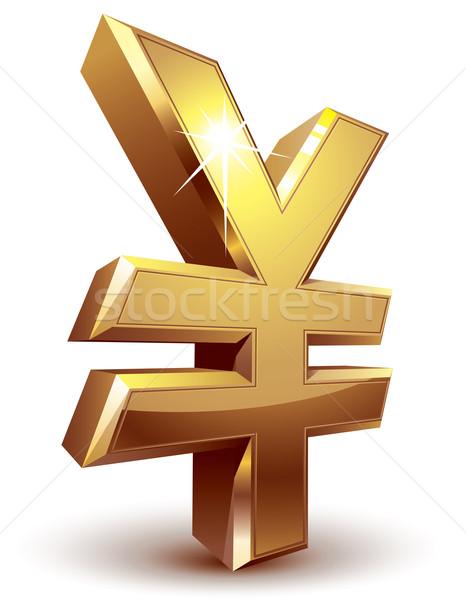 Yen simge parlak altın eps8 düzenlenmiş Stok fotoğraf © polygraphus